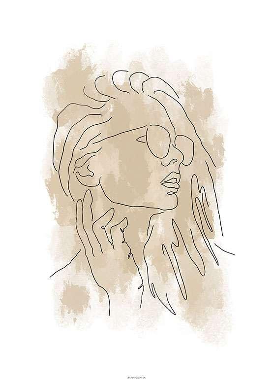 Stregtegning - Kvinde med solbriller