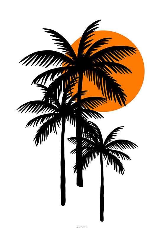 Plakat med tre sorte palmer
