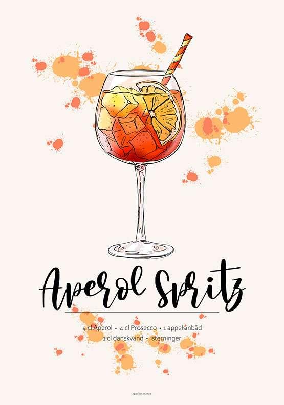 Aperol Spritz - Opskrift plakat