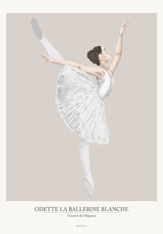 Hvid ballerina plakat