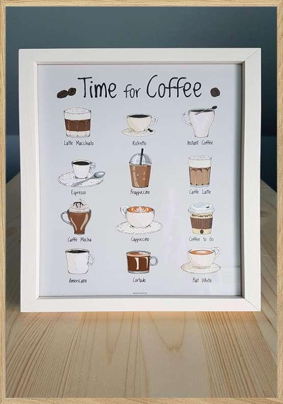Kaffeplakat med hvid ramme - Alle kaffer