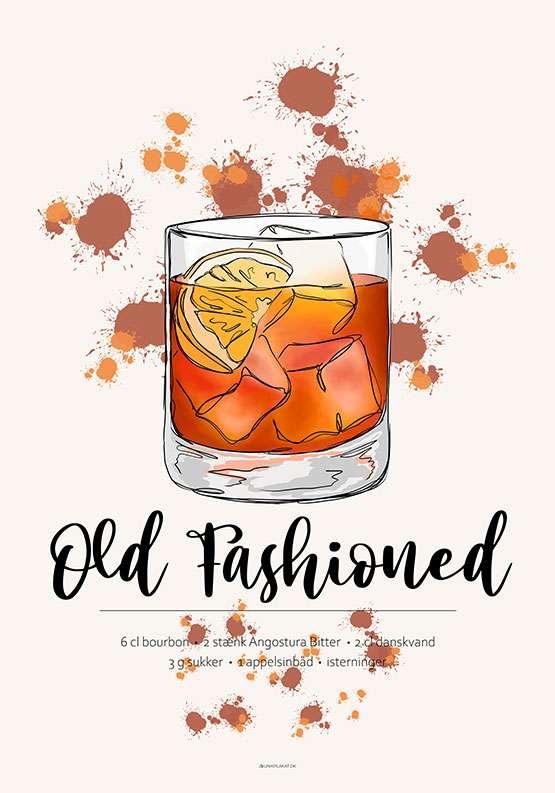 Old Fashioned opskrift plakat