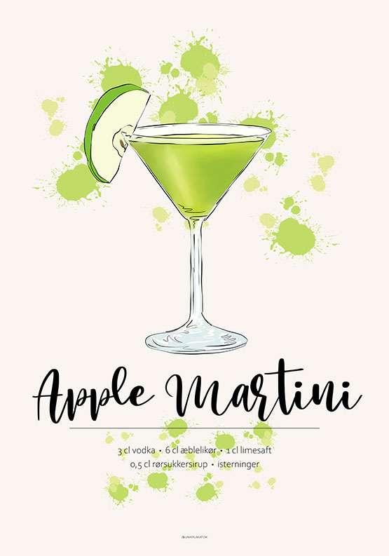 Opskrift plakat - Apple Martini
