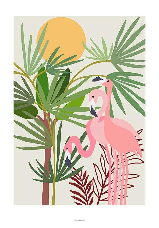 Plakat med flamingoer