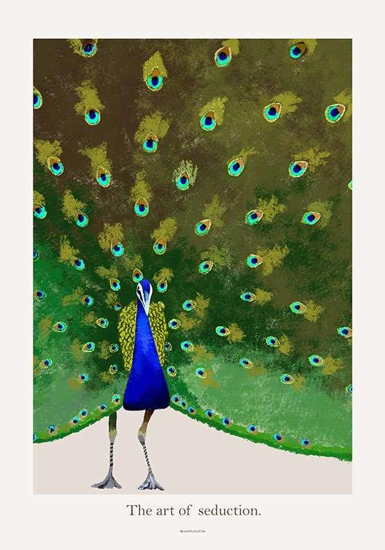 Plakat med påfugl