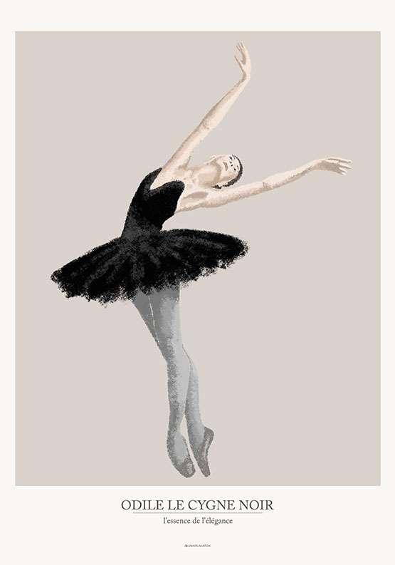 Sort ballerina plakat