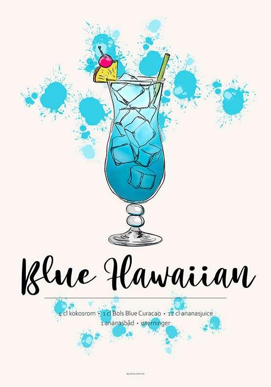 Drink opskrift på Blue Hawaiian som plakat