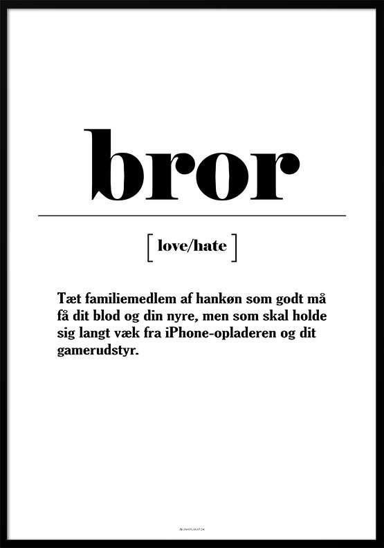 Plakat med sjov definition af bror
