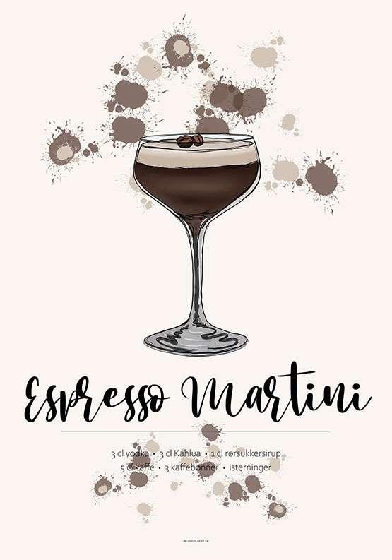 Espresso Martini opskrift plakat