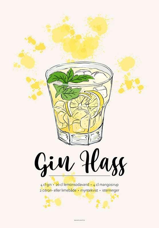 Gin Hass opskrift plakat