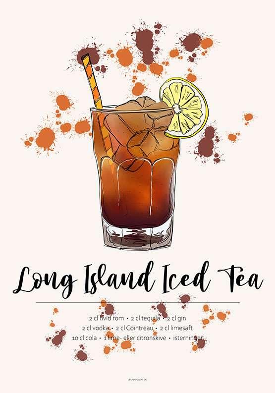 Long Island Iced Tea - Opskrift plakat