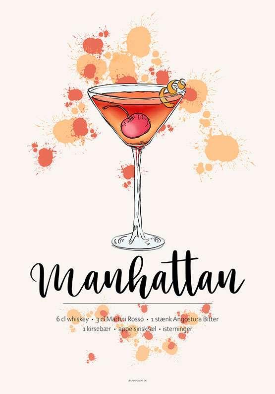 Manhattan drink - Opskrift plakat