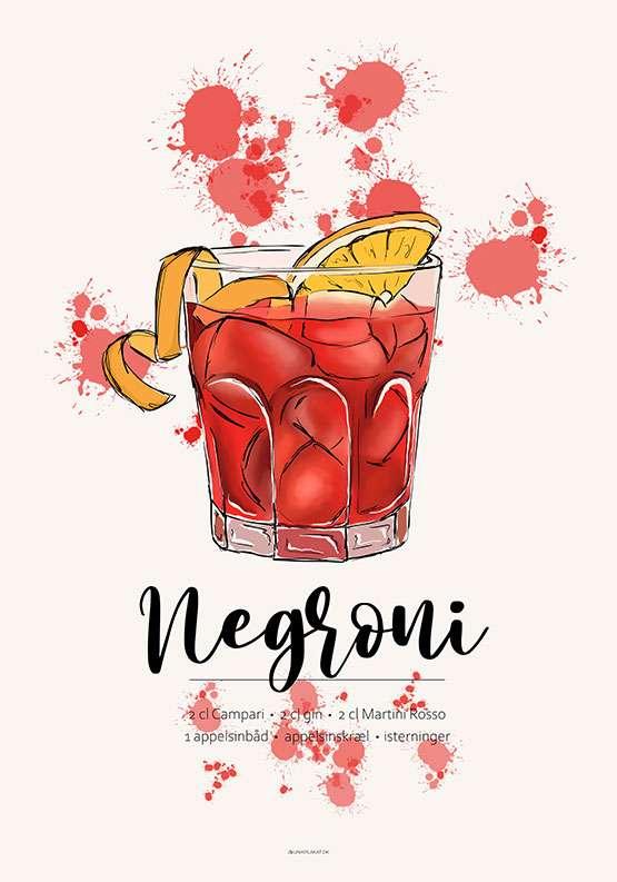 Plakat med Negroni opskrift