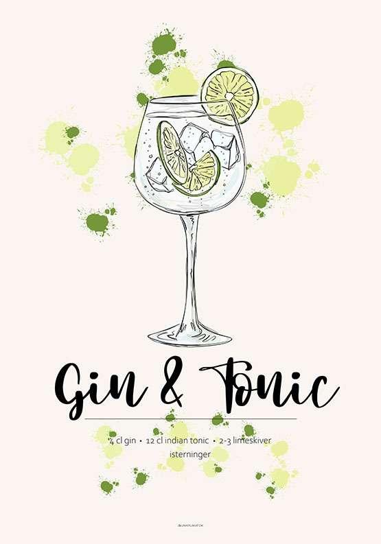 Opskrift plakat - Gin & Tonic