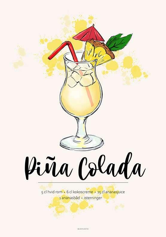 Pina Colada opskrift plakat