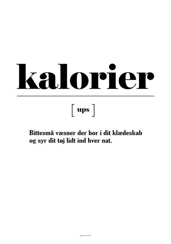 Plakat med definition af kalorier