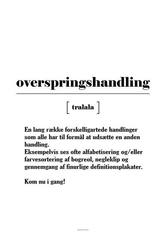 Sjov definitionsplakat - Overspringshandling