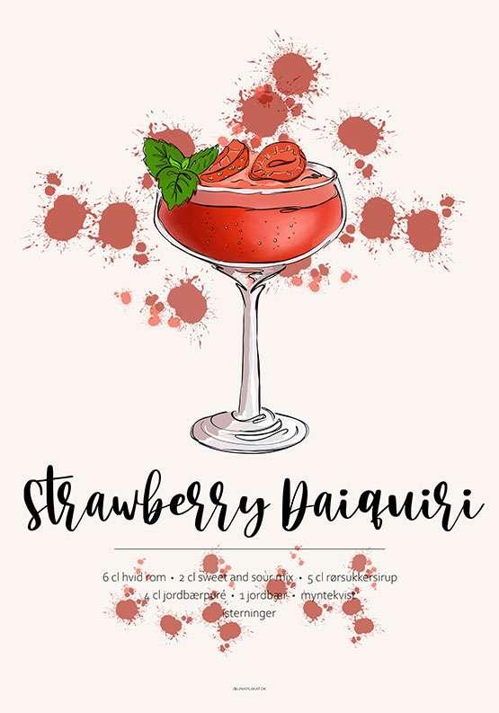 Strawberry Daiquiri - Opskrift plakat